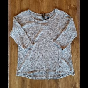 Gray Marled Shirt with Zipper